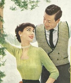 1950's Men's Checked Waistcoat Knitting Pattern. Double breasted button front vest knitted in a jaunty checked pattern, bound in garter stitch. Size 38, 40, 42.  Made with 3 ply sock and sweater yarn,