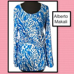 Gorgeous Alberto Makali top Alberto Makali top in blue white and tan pattern. See pic for fabric content sz large. Side details as well as front detail. Dress it up with skirt or dress pants. Wear it with jeans for a fun look. Very versatile!! Alberto Makali Tops