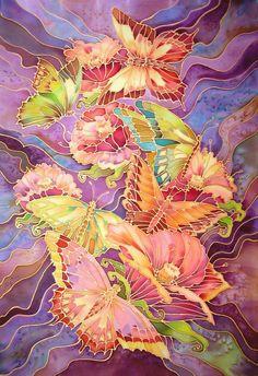 Батик : Бабочки-Цветы