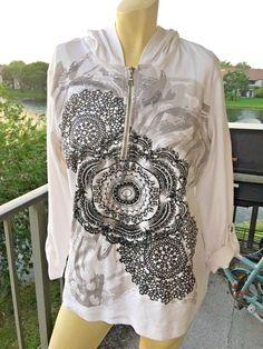 Style & Co Sport White Black Medallion Sparkling 3/4 Sleeve Hoodie Sweat XLARGE #StyleCoSport #Hoodie