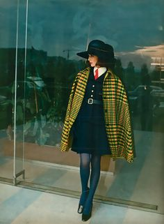 French Elle Magazine, 1968 vintage fashion styles 60s 70s dress skirt suit tie hat cape coat black yellow wool annie hall style tailored look vest red model print ad