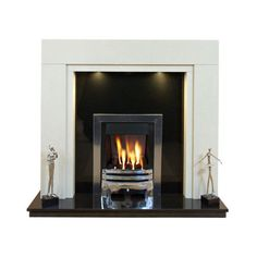 "Somerset Marble Fireplace 54"" or 48"" wide/downlights ❤ liked on Polyvore featuring home, home decor and marble home decor"