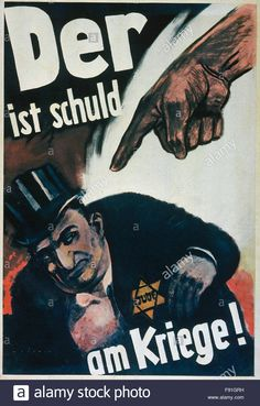 Download this stock image: WW2 Nazi German anti semitic poster - F91GRH from Alamy's library of millions of high resolution stock photos, illustrations and vectors.