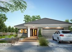 Simple Bungalow House Designs, Modern Bungalow House, Bungalow House Plans, House Plans Mansion, Dream House Plans, Modern House Plans, House Layout Plans, House Layouts, One Storey House