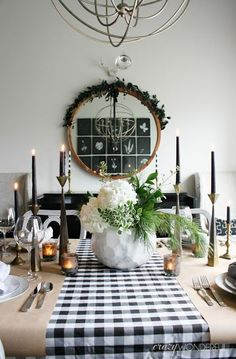 Crazy Wonderful: christmas home tour, christmas table ideas, modern tablescape, dining room christmas decor, buffalo check tablecloth, black and white table setting, kraft paper place setting