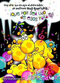 Mucho cariño para ti-tarjeta de cumpleaños-jirafa Vera y compañía celebrando cumpleaños © ZEA www.tarjetaszea.com