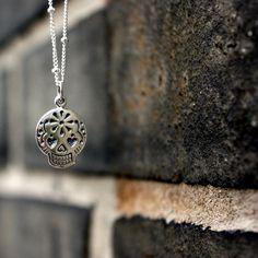 Sugar Skull Necklace - Sterling Silver Mexican Sugar Skull Charm . Day of the Dead . El Día de los Muertos. Sevgi Charms, via Etsy