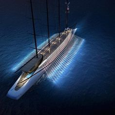 "Sail Mega Yacht Phoenicia by #night. Inspired by ancient trireme this boat features ""paddle rays"". We hope no slaves will be recruited there! Igor said: we'll put a broker on each paddle, I'll shout the orders! #yachtdesign #yacht #iconicyacht #exlusive #billonaire #nightview #nightlights #luxuryyachting #travel #vip #thegoodlife #phoenicia #unusualdesign #stark #yachtio #phoeniciayacht #yachtio #sailyacht #amazingarchitecture #dreambig #lobanov #lobanovdesign #lobanovyachtdesign #dream..."