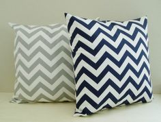 Chevron Pillow Covers Navy Gray Zig Zag Throw by BlossomPillowCo, $32.00; love for the MB