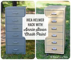 Ikea Helmer cabinet hack with ASCP in Arles (yellow) mixed with Pure White