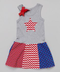 This Red Zigzag Star Drop-Waist Dress - Infant, Toddler & Girls by Beary Basics is perfect! #zulilyfinds