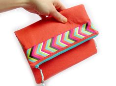 Fold Over Clutch Purse - Orange Coral Arrow Ribbon / foldover clutch / gift for her / foldover bag / evening clutch / iphone clutch Foldover Clutch, Clutch Purse, Etsy Handmade, New Product, Color Pop, Arrow, Gifts For Her, Ribbon, Coral