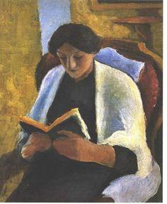 'lektüre frau' von August Macke (1887-1914, Germany)