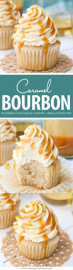 Caramel Bourbon Vanilla Cupcakes - a brown sugar bourbon cupcake topped with caramel vanilla frosting for a unique combination that is full of flavor! (frosting for cookies) Cupcake Flavors, Cupcake Recipes, Baking Recipes, Cupcake Cakes, Dessert Recipes, Gourmet Cupcakes, Cupcake Emoji, Lemon Recipes, Vanille Cupcakes
