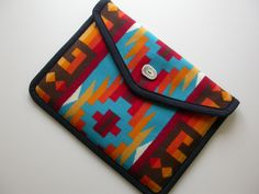 "Pendleton Macbook Pro Laptop Cover 13"" case sleeve, Pendleton Wool - turquoise native american print - ANTLER BUTTON. $50.00, via Etsy."