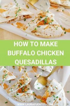 Easy quesadillas made with slow-cooker buffalo chicken, cheese, and homemade Ranch sauce. These make a crowd-pleasing meal you can bring together in minutes. #buffalochicken