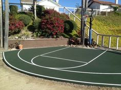 Taupe and green color combo for a half basketball court for Residential basketball court dimensions