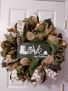Check out this item in my Etsy shop https://www.etsy.com/listing/580963158/military-wreath-soldier-wreath-army