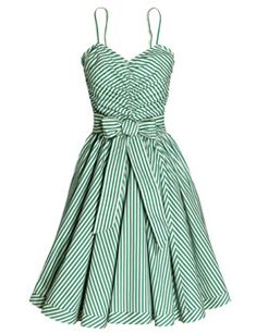 Green and white striped dress with matching belt, By H&M, $40, hm.com