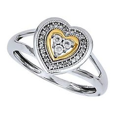 1/12 Ct Round Cut Natural Diamond 14K Gold Over Cluster Heart Promise Ring $999 by JewelryHub on Opensky
