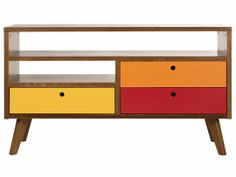 Rack 3 Gavetas Charme - Doce de Leite e Tricolor | Sala de Estar