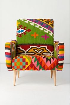 Navaho armchair handmade upholstery mexican style soft colourful designs green pink purple yellow stripes and rombs
