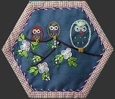 Hexie crazy quilt block with owls Crazy Quilt Stitches, Crazy Quilt Blocks, Crazy Quilting, Ribbon Embroidery, Embroidery Patterns, Quilt Patterns, Embroidery Sampler, Embroidery Stitches, Crazy Quilt Tutorials