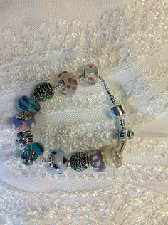 Lavender turquoise and blue hand blown and lamp work by Beadnbooty