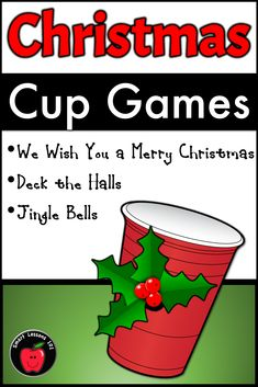 Christmas Music Games: Christmas Cup Game Rhythm Activity Lessons for Christmas Christmas Cup, Christmas Concert, Christmas Music, Merry Christmas, Christmas Games, Christmas Activities, Music Lesson Plans, Music Lessons, Piano Lessons