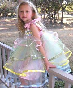 vestido de ceremonia para niñas en tul y cintas de colores