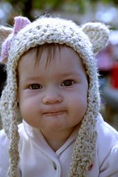 Free Crochet pattern - Bear Hat with long earflaps & bow  - all sizes - by EtsyBitsyToes/Lyudmyla Vayner
