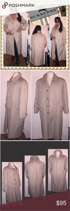 """Vintage Burberrys' Khaki Tan Trench Rain Overcoat! Vintage Burberrys' Khaki Tan Trench Rain Overcoat! Features: unisex style & design, hidden 5 button front, Nova Check plaid lining, 4 button front, 2 slash pockets, 2 inner deep pockets & back split. Shell: 51% Cotton & 49% Poly, Lining: 50% Cotton & 50% Poly. Tag Sz 40R or Women's Large. Measurements: Chest: 24"""" across, Back Length: 44"""", Side of Neck to End of Sleeve: 29"""", Arm Inset: 16"""" pit to sleeve. Some minor ext stains, missing zip-out…"""