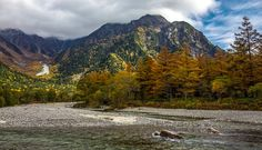 The Hotaka river with Mount Hotaka in the background, Chūbu-Sangaku National Park, Japan