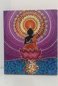 Buddha represents wisdom, the highest truth and calmess of the soul and mind. You will love the vibrant colours of this painting on your wall. Dot Art Painting, Mandala Painting, Mandala Art Lesson, Mandala Rocks, Buddha Art, Tile Art, Mandala Design, Art Lessons, Design Art