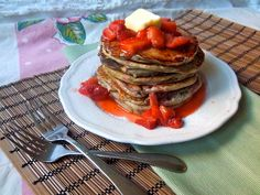 Healthy Peanut Butter and Jelly Pancakes with chia seeds