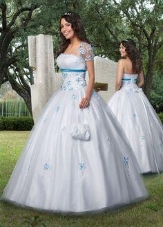 White Strapless Tulle Quinceanera Dress - Vuhera.com