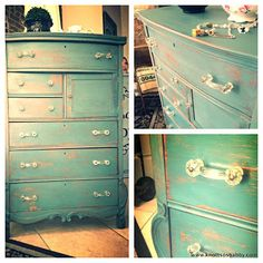 Antique Dresser hand painted and distressed with glass pulls and knobs in Miss Mustard Seed's milk paint Kitchen Scale by Bliss and Blossom Designs