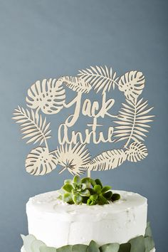 Lasercut 1/8 birch cake topper with monstera and other tropical leaves. Can be customized with your names or short message! Measures approx. 10 x 5.5 inches (not including sticks at bottom). Sticks measure approx 2.5 inches - please message if you would like them longer/shorter - length will depend on size of the cake. This items takes approx 1-3 weeks to make before shipping. Shipping within Canada and the USA takes approx 5-10 business days. All items ship only on Fridays, please...