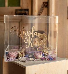 pudelko na koperty glamour 5/akrylkwiaty/kopr Glamorous Wedding, Dream Wedding, Floating Flowers, Money Box, Vows, Wedding Planning, Wedding Decorations, Place Card Holders, Tableware