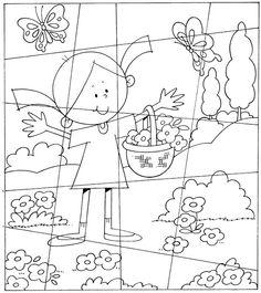 Puzzle for preschool children, free printable – Knippen Puzzles, Hidden Pictures, School Worksheets, Yoga For Kids, Math Games, Preschool Activities, Free Preschool, Kids And Parenting, Kids Learning