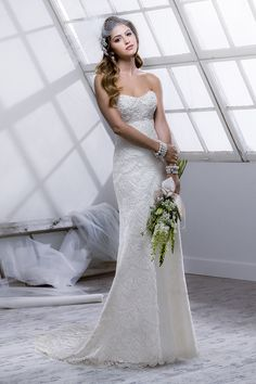 Chantilly scallop lace over Satin with white bead and pearl encrusted bodice I Style #Logan #4SC809 by #SotteroandMidgley I @Maggie Moore Sottero