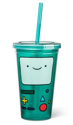 ThinkGeek :: BMO Acrylic Cup with Straw BMO is so adorable even though we don't if its a she or he. I guess that's what makes BMO BMO Adventure Time, Cup With Straw, Take My Money, Things To Buy, Geek Things, Nerdy, Geek Stuff, Mugs, My Favorite Things