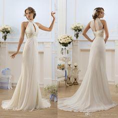2016 Greek Style Elegant Ivory White Wedding Dresses High Neck Bead Beach Bridal Gowns Fashion Vestidos De Novia Cheap A Line High Quality Bridal Stores Bride Dress From Alberta_dress, $103.12| Dhgate.Com