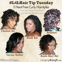 4-Five Curly Heat Free Hairstyles for Relaxed Hair - Longing 4 Length