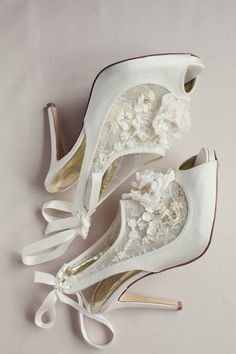 """Beautiful French Chantilly lace insert peep toe """"Mio"""" bootie, hand embellished with crystals, seed pearls and delicate silk and Mother of Pearl flowers. This shoe also features a hand embellished blossom flower, Duchesses silk satin upper, soft gold kid leather lining and leather sole. www.freyarose.com"""