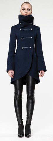 Fantastic Navy Coat! My girlfriend recently turned me onto leather leggings.. Something I'm fence-ish about.. But the more I see them in these kind of ensembles, the more I like them. Especially because they look more soft, less shiny!