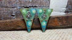 Enameled Earring Charms Slices in Minty Green by BlueHareArtWear