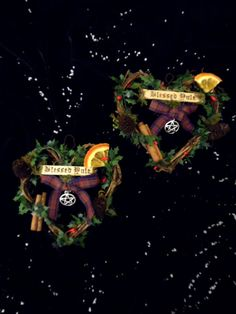 Miniature Handmade Yule Wreath. Pagan Wiccan  by positivelypagan.com