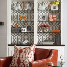 Styling Bookcases and cabinets. This pattern is very in right now. I'm thinking it might even be cheaper if you found fabric you liked and glued to to very thin board ( glue on back of board by wrapping the edges so it doesn't show through). Even cardboard could work. A nice textured linen would probably look nice too.