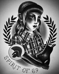 Skinhead Girl, Skinhead Fashion, Life Tattoos, Body Art Tattoos, Skinhead Tattoos, Ska Music, Rude Boy, Soul Art, Punk Goth